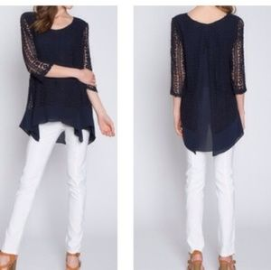 Monoreno Navy Crochet Knit Top Large